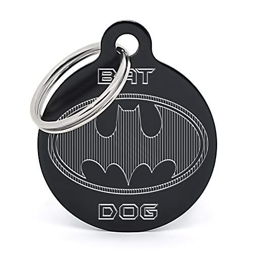 PERDIDUS Placa Identificativa para Perro 'Bat Dog', Grabado del Nombre y Teléfonos (Negro)