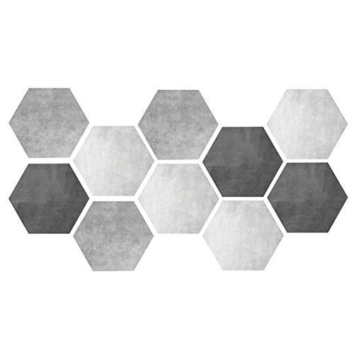 Nivvity Adesivo in PVC, 10 Pezzi Impermeabili Antiscivolo esagonali autoadesivi Adesivi per Pavimenti in Piastrelle di Ceramica Decorazioni per la casa