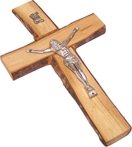 Holylandmarket Rugged mit rustikalem/Bark Kanten Olivenholz Kreuz/Kruzifix aus Bethlehem–Medium
