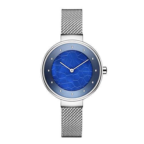 HFQJTU Relojes de Mujer, Women Fashion Quartz Wristwatch con Banda de Acero Inoxidable y dial de patrón de Grietas, Relojes de Mujer Elegantes Regalos de Reloj de Pulsera de Negocios para Ella