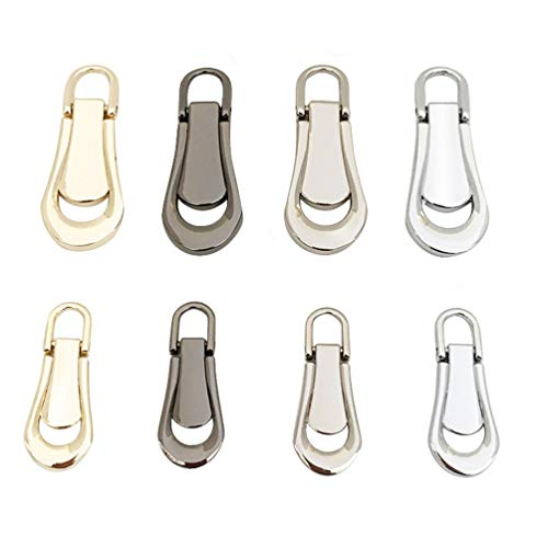 Milisten 8pcs Zipper Pull Tabs Replacement Zip Fixer Zipper Tags Repair for Clothes Suitcase Backpack DIY Craft