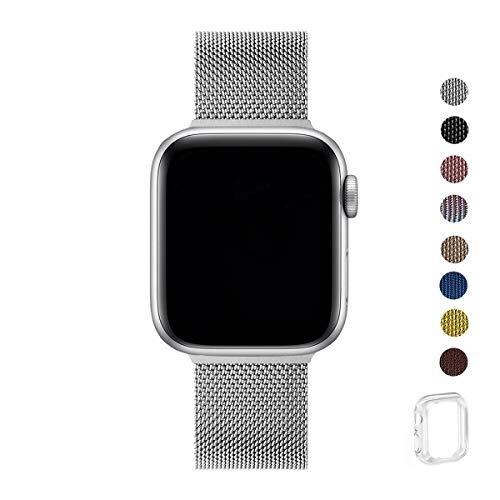 WFEAGL コンパチブル apple watch バンド, コンパチブル iWatch通用ベルト apple watch series 5/4/3/2/1に対応 交換ベルトステンレス製 (42mm 44mm, シルバー)