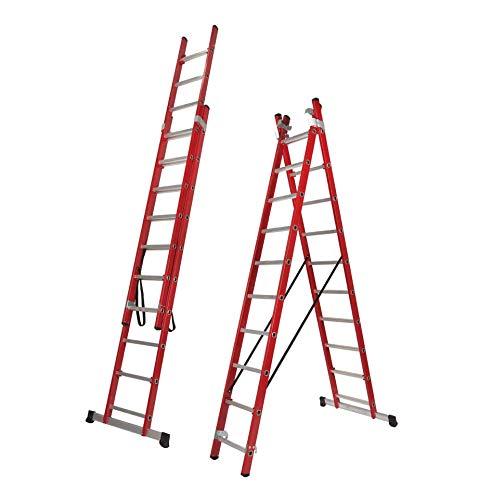 Escalera Transformable Dos Tramos de Fibra de Vidrio (3,0 Mts (2 Tramos de 10 Peldaños))