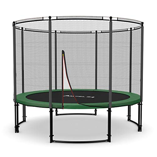 Ampel 24 - Tappeto Elastico Deluxe Completo con Rete di Sicurezza, Tela da Salto / 3,05m di Diametro/Resistente Fino a 150 kg / 8 Pali Imbottiti