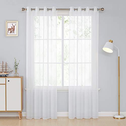 Deconovo Transparent Gardinen Wohnzimmer Voile Vorhang Ösenvorhang 245x140 cm Weiß 2er Set, Stoff, 245x140