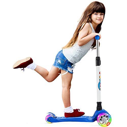 BELEEV Scooter Roller Kinder Kinderroller Dreirad für Kinder Klein Mädchen und Jungen, Kinderscooter von 3 bis 12 Jahren, 3 LED Räder Roller mit 4 Höhenverstellbare und Verstellbare Lenker(Blau)