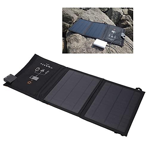 Cargador solar con enchufe plegable de 2 USB, cargador de panel solar plegable Tecnología de laminación PET de bajo consumo para suministro de energía móvil para cámaras digitales