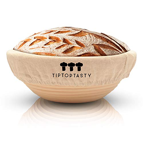 Banneton Bread Proofing Basket Baking Supplies - 9 Inch Round Proofer Bowl with Liner for Sourdough Loaf - Bakery-Grade Brotform for Rising and Shaping Your Dough - Handmade from 100% Natural Rattan