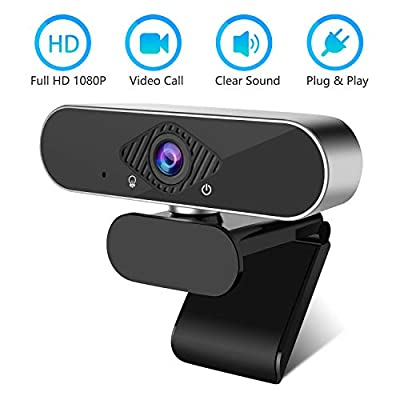 HD 1080p Webcam with Microphone, PC Desktop Laptop USB Webcam for Home Office, Widescreen 1080p Full HD Computer Camera for Video Calling and Recording