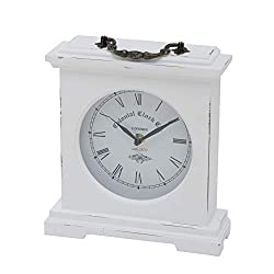 Iconic Colonial Mantel Clock, Roman Numerals, Quartz Movement, Vintage Style, Glass, White, Distressed Finish, Wood, Metal, 8 1/4 L x 2 1/2 W x 9 1/2 H Inches, 1AA Battery (Not Included)