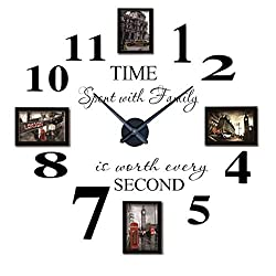 Reliable-E Inspirational Quotes Wall Sticker Photo Frame DIY 3D Wall Clock for Home Decor (Black)