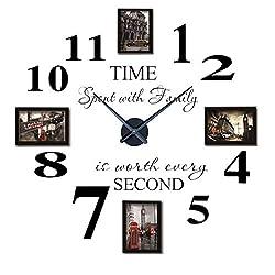 Reliable-E Inspirational Quotes Wall Sticker Photo Frame DIY 3D Wall Clock for Home Decor (Black)