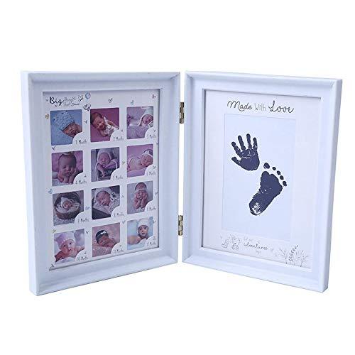 WWWL Marco de fotos de primer año para bebé, regalo de cumpleaños para niños, decoración para el hogar, decoración familiar, marco de fotos con almohadilla de tinta para manualidades