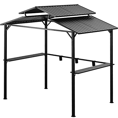 Leisurelife Outdoor BBQ Grill Gazebo 8.2ft - 2-Tiers Hardtop Canopy Tent for Patio Backyard