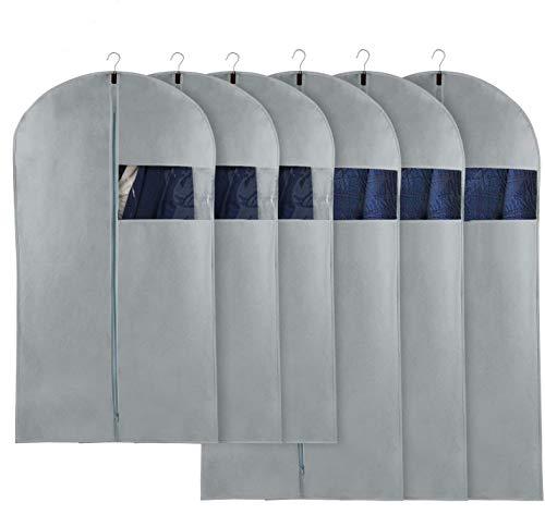 Fundas de Ropa,Juego de 6 Bolsas de Ropa a Prueba de Polvo con Cremalleras,Fundas Chaquetas Anti-Polvo para Traje Suéter Chaqueta Abrigosy