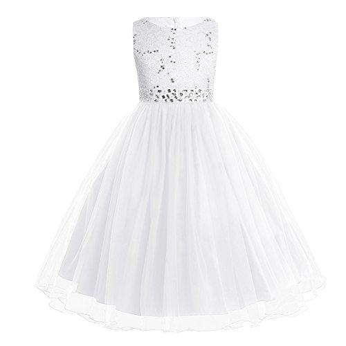 iiniim Kinder Mädchen Kleid Langes Festlich Kleid Blumenmädchenkleid Hochzeit Partykleid Kommunionskleid Gr.98-164 Weiß B 134-140