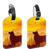 Etiquetas de equipaje, de cuero personalizado etiqueta de equipaje conjunto de etiquetas de identificación de equipaje accesorios de viaje - Set de 2 perro amarillo atardecer