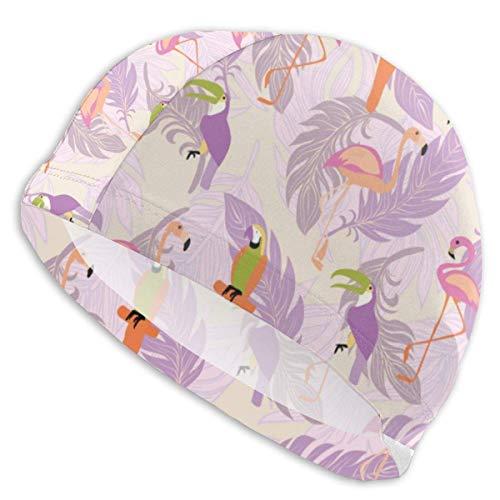 HFHY Oiseaux tropicaux exotiques Bonnet de bain en lycra Coupe confortable Bonnets de bain Bain et douche Couvre-cheveux Protection d'oreille pour les cheveux longs et les cheveux épais et les cheveux