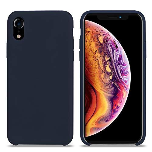 Cover iPhone XR, Custodia Antiurto Gomma Gel Silicio Liquido con Fodera Tessile Microfibra Morbida Custodia iPhone XR Silicone Protettiva Cover per Apple iPhone XR. (XR 6.1'', Mezzanotte Blu)