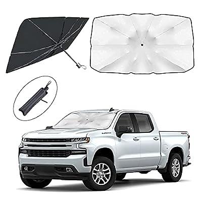 2PCS Car Windshield Sun Shade, Foldable Umbrella Reflective Sunshade for Car Front Window Blocks UV Rays Heat Keep Vehicle Cool, for Passenger Cars, Sedans, SUVs (1PC 59X33inches + 1PC 55X31 inches)