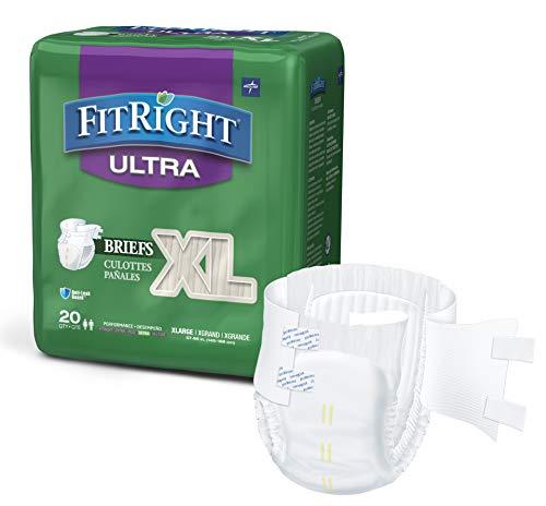 FitRight Ultra Adult Diapers, Disposable Incontinence Briefs with Tabs, Heavy Absorbency, X-Large, 57'-66', 4 packs of 20 (80 total)
