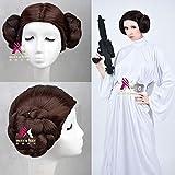 Nueva Star Wars princesa Leia Organa Solo peluca corta marrón Cosplay pelo con dos bollos disfraz cosplay + gorro de peluca