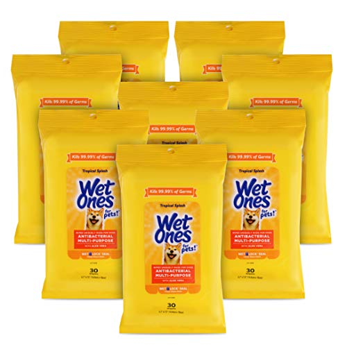 Wet Ones for Pets Antibacterial Multi-Purpose Dog Wipes with Aloe Vera, 30 ct - 8 Pack | Antibacterial Dog Wipes for All Dogs in Tropical Splash Scent, Wet Ones Wipes with Wet Lock Seal