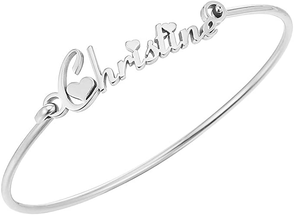 TUSHUO 26 English Letters Name Automatic Retractable Simple Bangle Stainless-Steel Christine