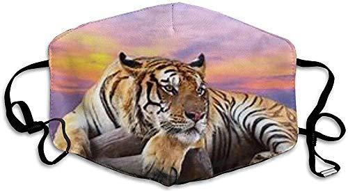 HJIUY Mundmasken Tiger im Sonnenuntergang Muster Unisex waschbar Wiederverwendbare Mundmaske Modedesign für Mädchen Frauen Jungen Männer