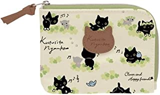 cream black grey cat clover wallet coin case pouch by San-X