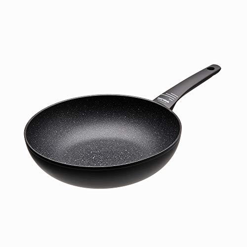 Moneta Yes (Zeus 2.0) Wok, Aluminio Antiadherente Reforzado, Color Negro, para todo tipo de cocinas incluida inducción, 28 cm