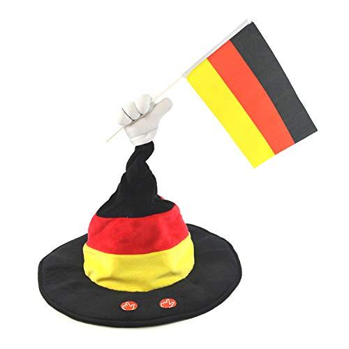 Kögler 68000 - Tanzender Hut mit Sound in den Deutschlandfarben schwarz/rot/gold, toller Fanartikel für die nächste Fußball-EM und WM, im Stadion oder beim Public Viewing