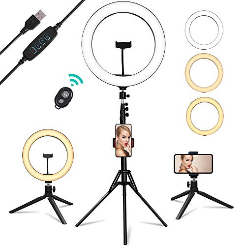 """USB Powered Ring Light, Summifit 10"""" Circle LED Light, Bluetooth Halo Lighting with 2 Tripod Stand, 3 Phone Holder for YouTube Video, TikTok, Live Streaming, Makeup, Selfie Photography iPhone Android"""