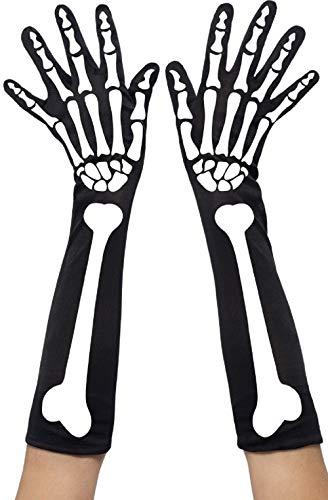 femme sexy Halloween Noir Blanc Squelette Mitaines Costume Déguisement gants - Doigts, Taille Unique, One size