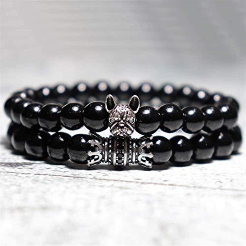 Pulsera de piedra Mujer, 7 chakra perlas de piedra natural de obsidiana Brazalete elástico de plata Joyería de animal Joyería de la joyería de yoga Energía Balance del encanto Difusor Mujeres Pulseras