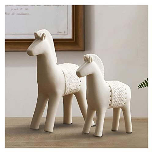 Horse 2-PC Ornamento De La Escultura Cerámica Inicio Oficina Sala De Estar Vino Gabinete TV Mueble Escritorio Estudio Porch Blanco MUMUJIN