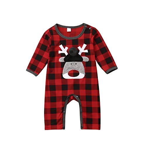 Body para Bebé Recién Nacido Unisex Invierno Navideño Mameluco Bebé Navidad Manga Larga con Dibujo Papá Noel y Alce Mono Bebé Unisex para Niños de 0-24 Meses (Cuadros, 3-6 M)