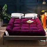 EYTAH Colchón de Piso para Tatami Sleeping, Plegable, Grueso, Suave, Enrollable, para Estudiantes, Dormitorio, Antideslizante, portátil, para casa o Camping,Púrpura,0.9 * 2m