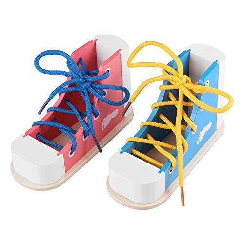 Toyvian Schuh-Spielzeug aus Holz, zum Schnüren, für Schuhe, Pädagogisches Set für Kinder, 2 Stück