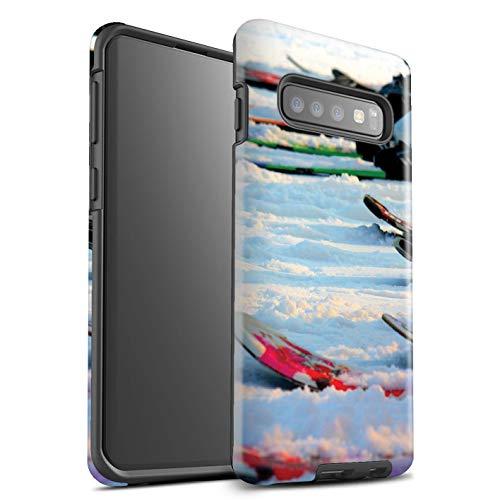 Stuff4® glanzende harde schokbestendige hoes/case voor Samsung Galaxy S10 / wintersport patroon/skiën/snowboarden collectie