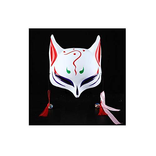 KYX-GAOMOUREN Halloween-Tanz Fuchs Dämon Maske Und Wind Halbe Gesicht Gesicht Katze Gesicht Gesicht Katze Gesichtsmaske Anime Fuchs Cosplay Maske,E