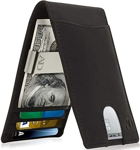 Slim Bifold Wallets For Men Black Crazyhorse Leather Money Clip Mens Wallet RFID Front Pocket product image