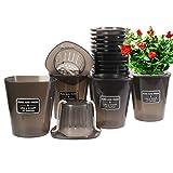 Herefun 10 Pezzi Vasi da Fiori, Vasi per Fiori da Interni, Vasi per Piante da Interno, Vasi per Piante con Foro di Drenaggio per Interni Fioriere in Piante da Esterno Decorative (2)