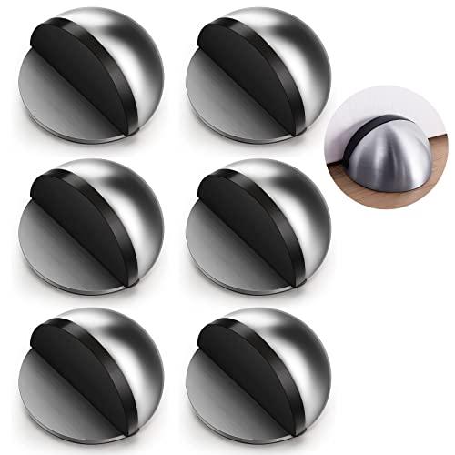POOPHUNS Juego de 6 topes de puerta de acero inoxidable, autoadhesivos, para puerta de piso, de acero inoxidable, con almohadillas adhesivas para protección de paredes y muebles