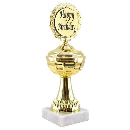 Beker goud met marmeren sokkel, cadeau, jubileum, verjaardag 21cm, Happy Birthday
