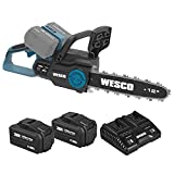 Cordless Chainsaw, WESCO 40V 12-Inch Chain Saw, 4.0 Ah X 2 Battery and Charger Included, 6 oz Oil Tank, 20 ft/s Chain Speed, Tool-Free Chain Tensioning, Auto Chain Lubrication/WS8303U