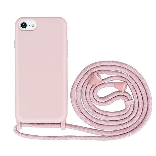 Nupcknn Funda Silicona con Cuerda para iPhone 7/iPhone 8/iPhone SE 2020, Carcasa Suave Silicona Case con Correa Colgante Ajustable Collar Correa de Cuello Cadena Cordón(Oro Rosa)