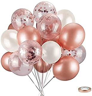 JoyLithe Rose Gold Balloons & Rose Gold Confetti Balloons Pack of 30-12 inch- Premium Quality Balloon for Baby Shower, Bridal Shower, Bachelorette, Wedding or Birthday Parties. (Ribbon Included)