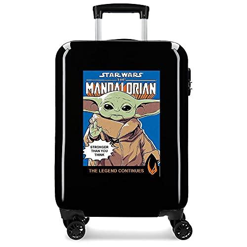 Star Wars The Mandalorian - Valigia da cabina nera 38 x 55 x 20 cm rigida ABS chiusura a combinazione laterale 34 2 kg 4 ruote doppie bagaglio a mano