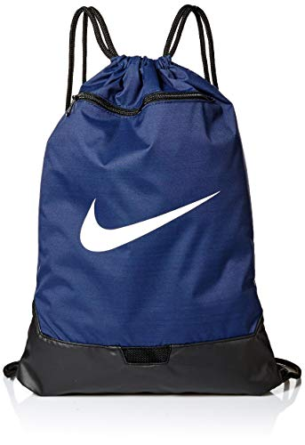 Nike Brasilia Training Gymsack, Drawstring Backpack with Zipper Pocket and Reinforced Bottom, Midnight Navy/Black/White